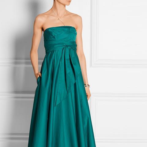 Strapless Satin-Poplin Midi Dress