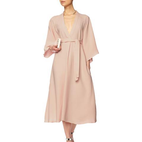 Pink Silk Belted Kimono Dress
