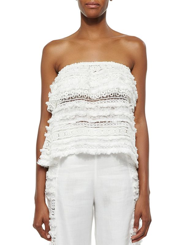 Alexis Valentin Tiered Lace/Fringe Top