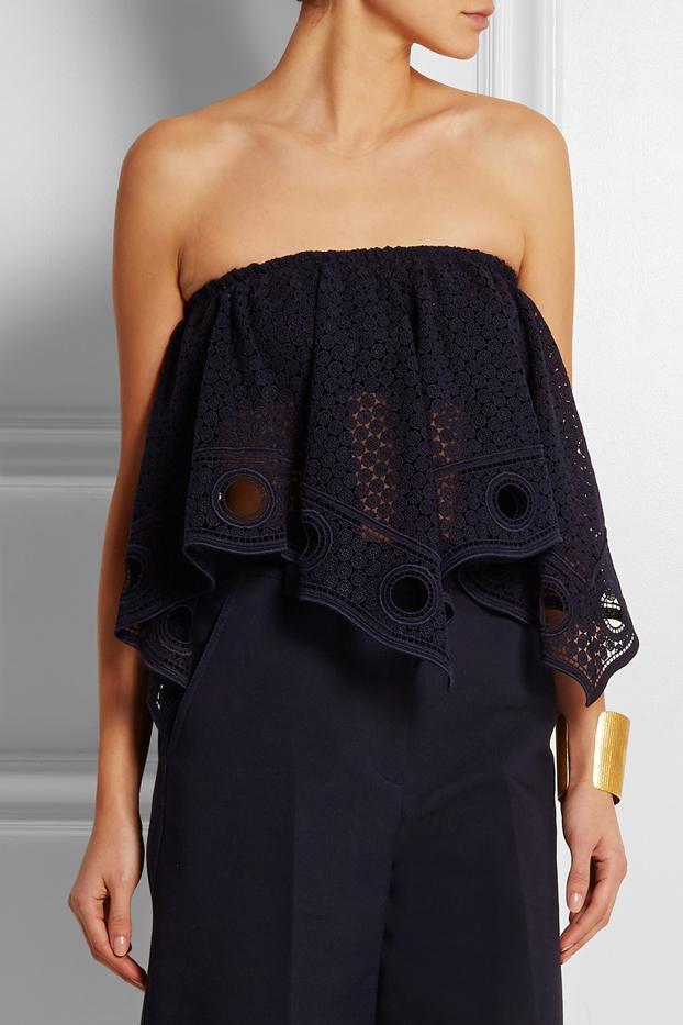 Chloé Crocheted Lace Bandeau Top