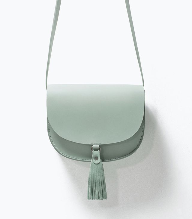 Zara Leather Messenger Bag with Tassels