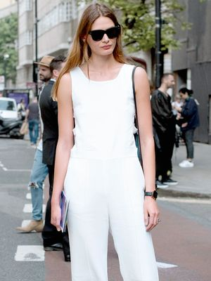 An Effortless Way to Accessorize Your White Jumpsuit