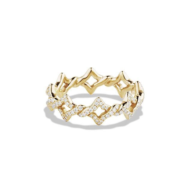 David Yurman Venetian Quatrefoil Stacking Ring with Diamonds in Gold