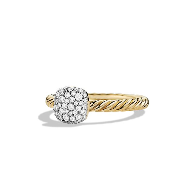 David Yurman Petite Pavé Ring with Diamonds in Gold