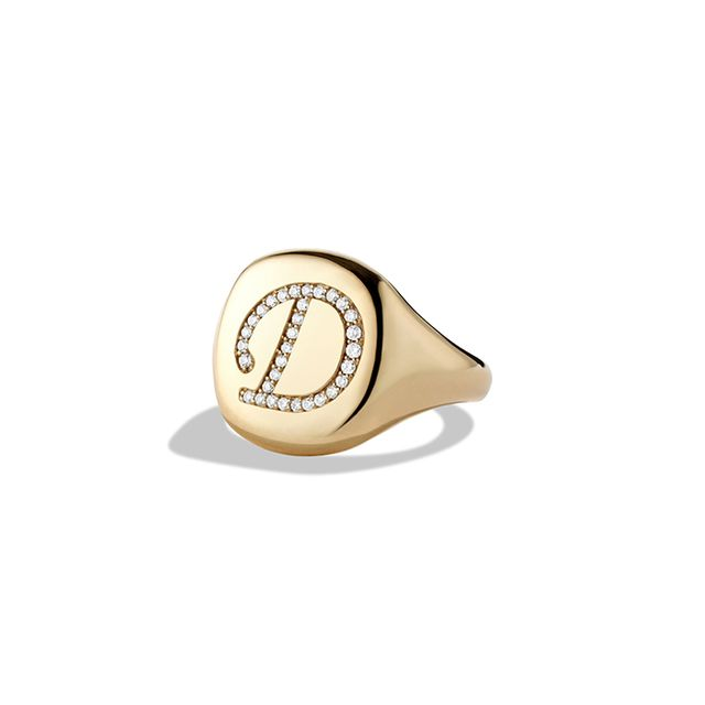 David Yurman DY Initial Pinky Ring with Diamonds in Gold