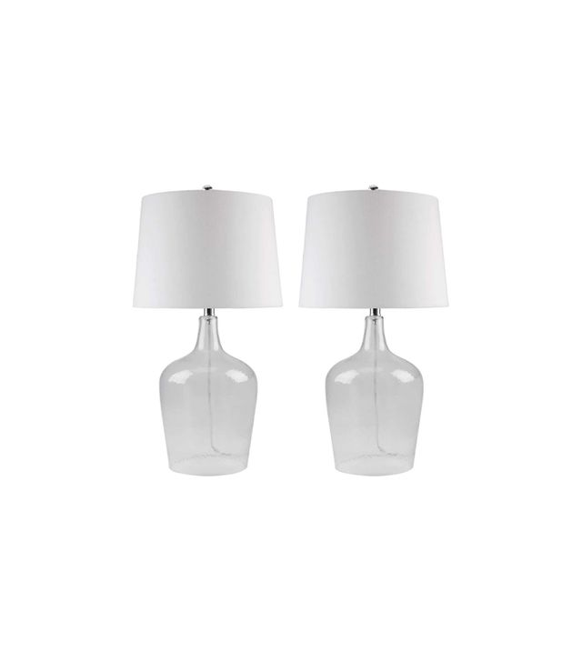 Abbyson Living Pair of Azure Clear Glass Table Lamps
