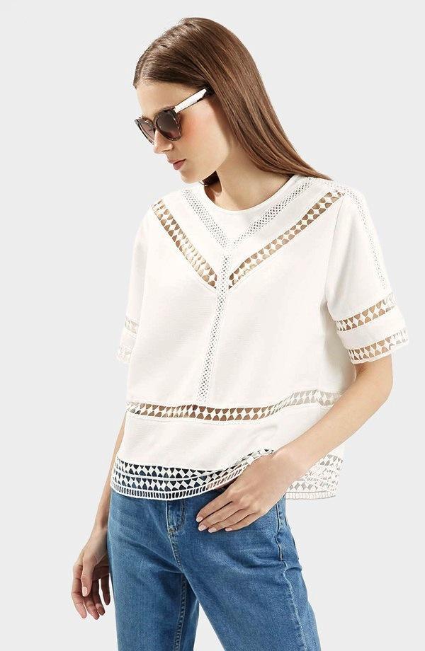 Topshop Crochet Trim Shirt