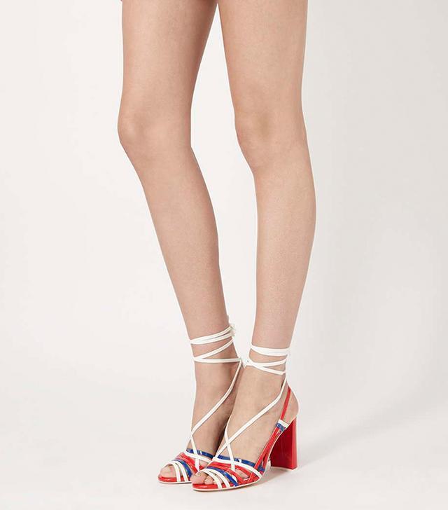 Topshop Unique Patent Leather Skinny Strap Sandals