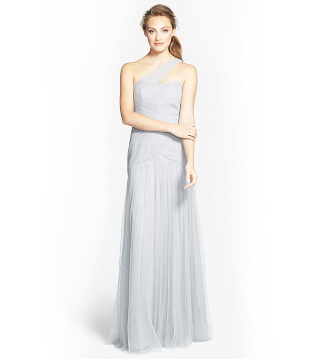Monique Lhuillier Bridesmaids Pleated One-Shoulder Tulle Trumpet Gown