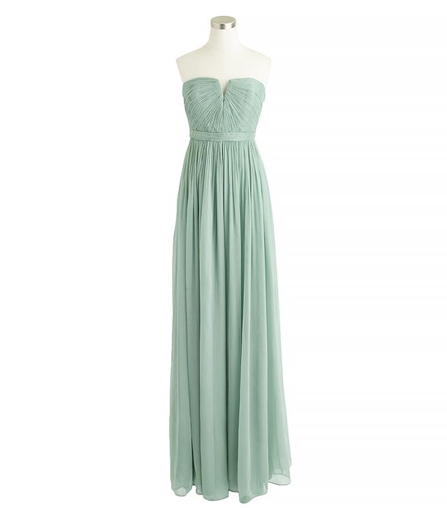 J.Crew Nadia Long Silk Chiffon Dress