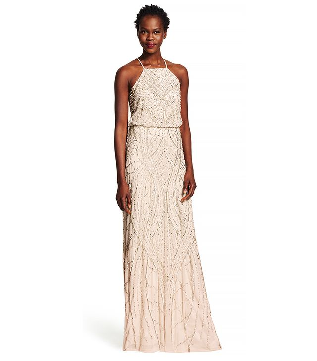 Adrianna Papell Beaded Blouson Halter Gown