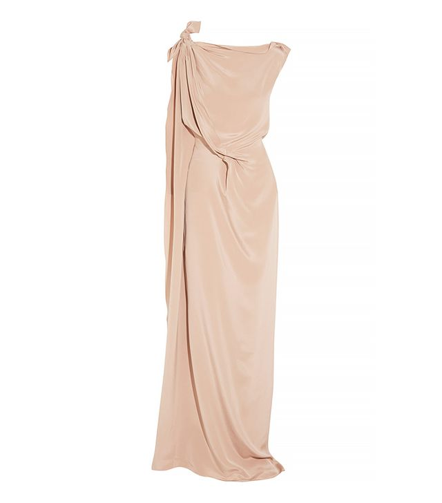 Roland Mouret Silvabella Draped Silk-Satin Gown
