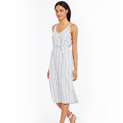 Striped Linen Cotton Midi Dress