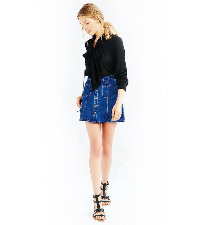 BDG Denim Button-Front Skirt