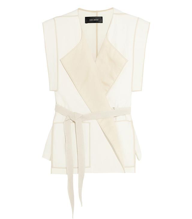 Isabel Marant Laddie Belted Cotton-Crepe Wrap Vest