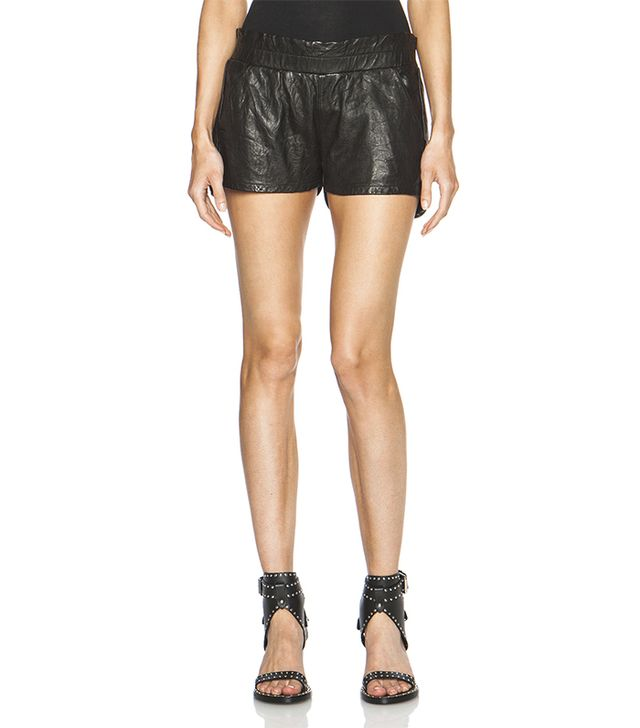 Frame Denim Leather Jogger Shorts