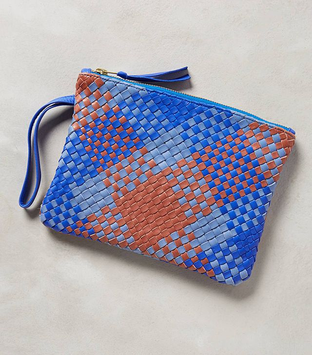 Claremonte Plaidweave Leather Pouch