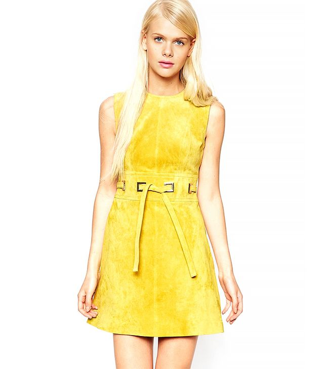 ASOS A-Line Dress in Suede With Square Eyelet Detail