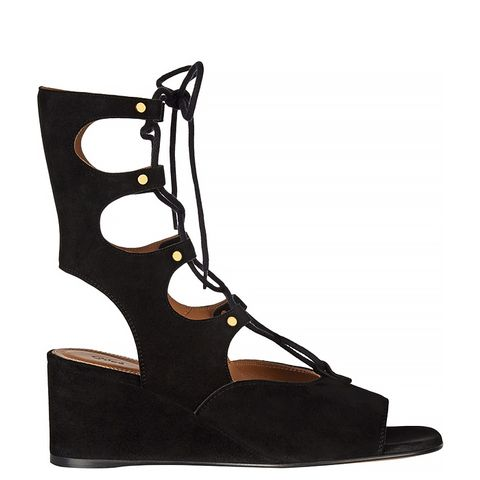 Lace-Up Suede Wedge Sandals, Black