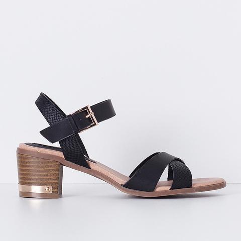 Heeled Strap Sandals, Black
