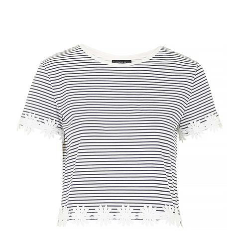 Petite Striped Daisy Trim Tee