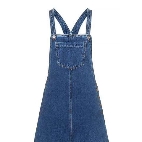 Moto Denim Pocket Pinafore Dress