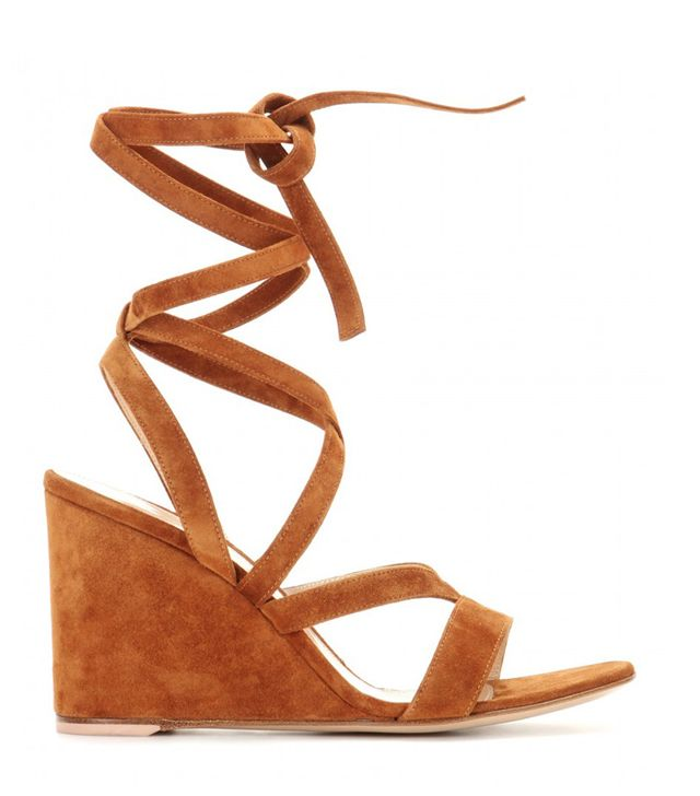 Gianvito Rossi Suede Wedge Sandals