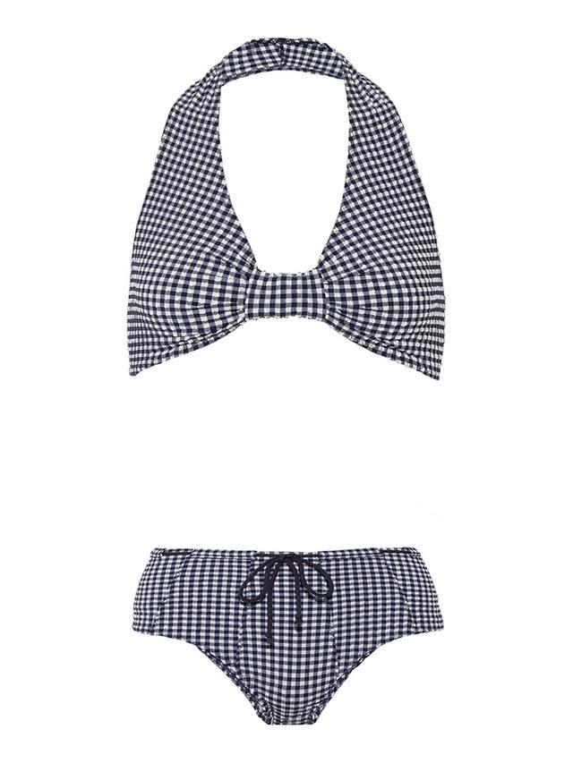 Lisa Marie Fernandez Deena Gingham Seersucker Halterneck Bikini