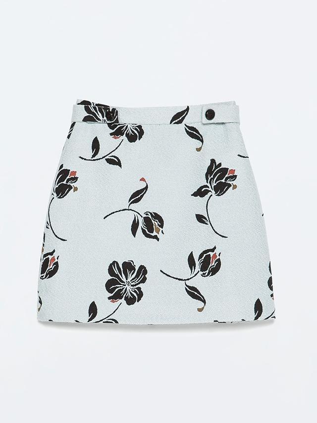 Zara Floral Jacquard Skirt