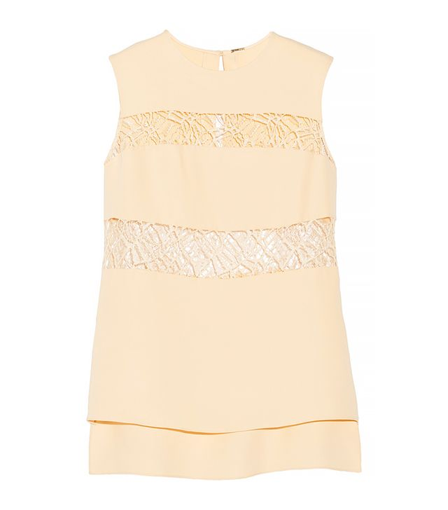 Adam Lippes Lace-Paneled Silk Top