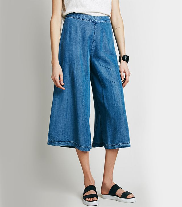 Free People high Rise Chambray Gaucho Pant