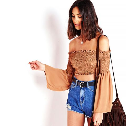 Bell Sleeve Woven Crop Top, Camel