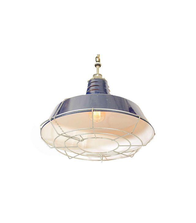 Liza Sherman Industrial Enamel Shade Cage Pendant Lights
