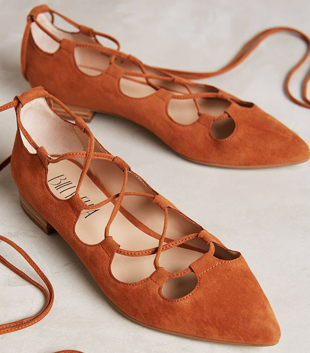 Billy Ella Lace-Up Flats, Brown