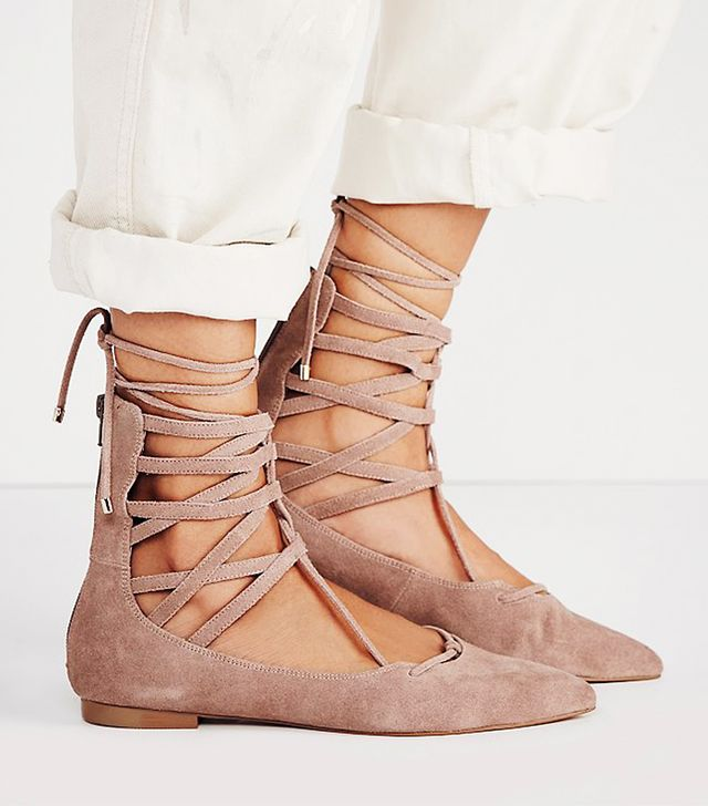 Jeffrey Campbell Shay Lace Up Flat, Nude