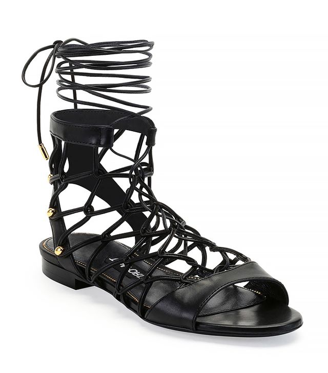 Tom Ford Chain-Link Lace-Up Sandal, Black