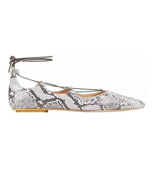 Topshop Snake-Effect Ghillie Pointed Flats