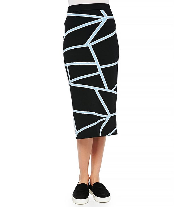 Jonathan Simkhai Intarsia Knit Geometric-Print Pencil Skirt