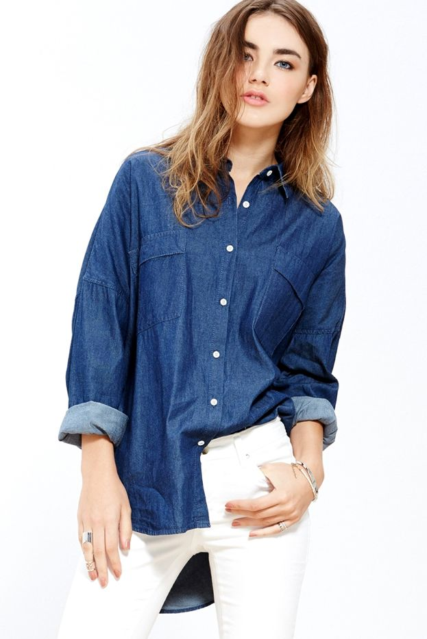 A Common Space Denim Boyfriend Shirt