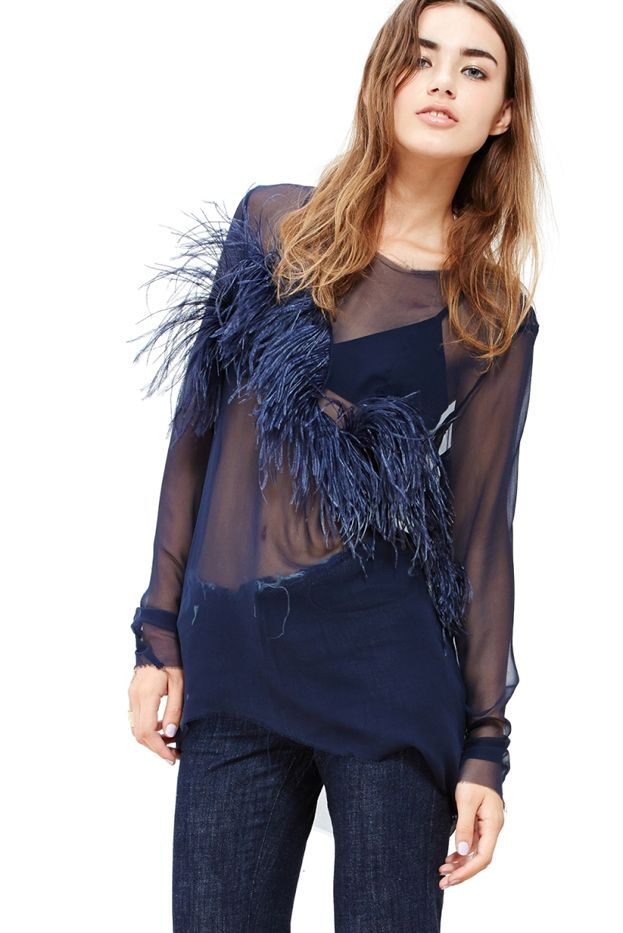 A Common Space Silk Blouse with Ostrich Feathers