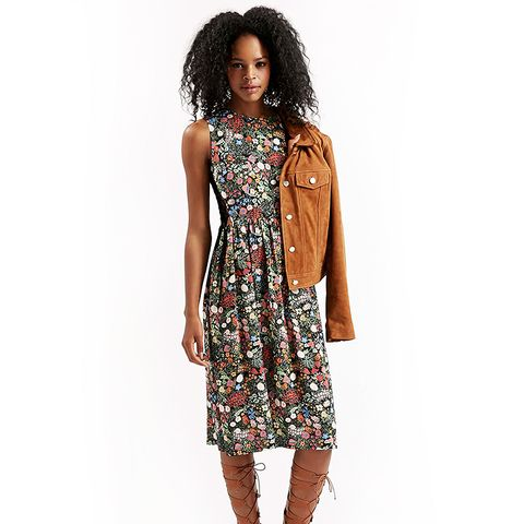 Woodland Print Tie-Side Midi Dress