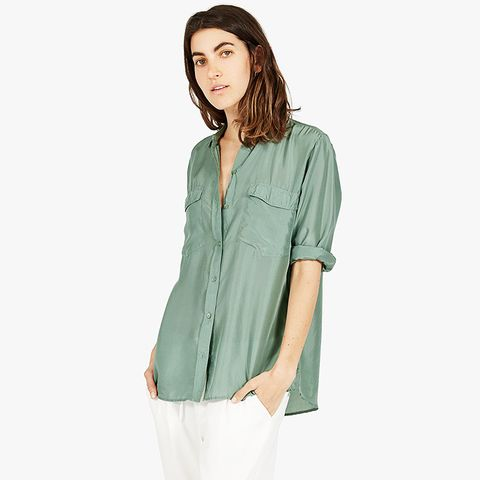 The Habotai Silk Long-Sleeve Shirt, Spearmint