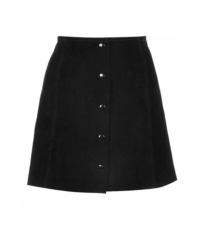 Topshop Suede Button Front A-Line Skirt