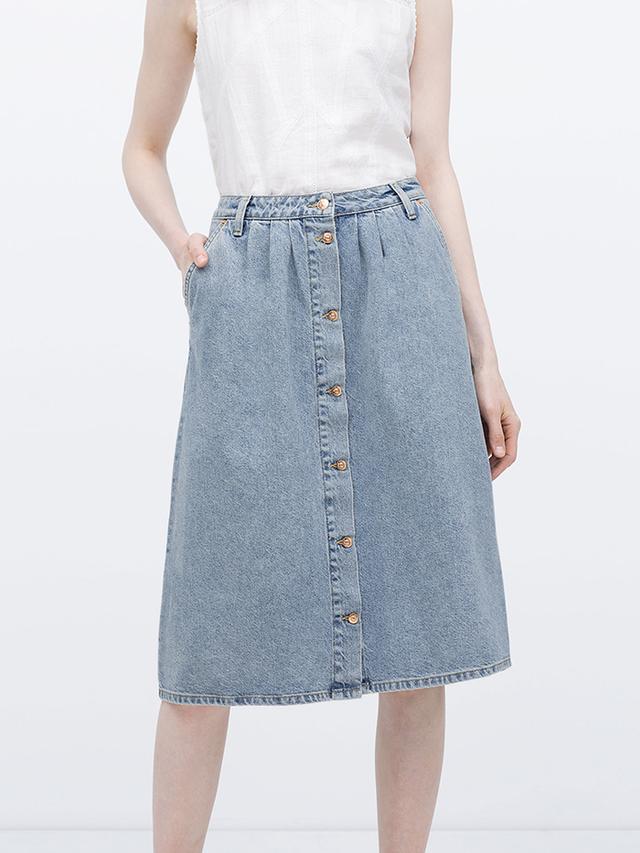 Zara Long Denim Skirt