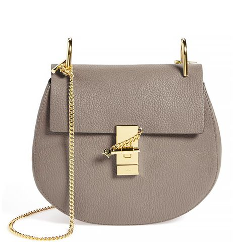 Drew Leather Crossbody Bag, Motty Grey