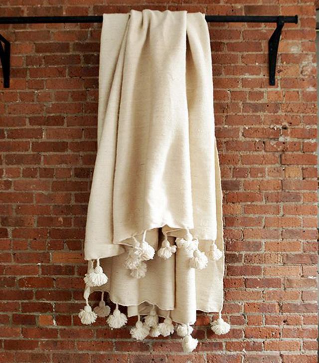 Berber Looms Moroccan Wool Pom Pom Blanket
