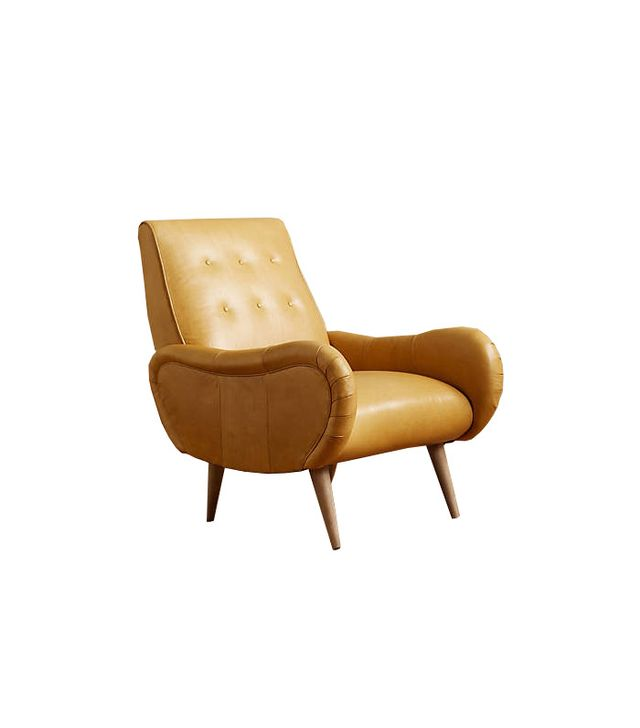 Anthropologie Leather Losange Armchair