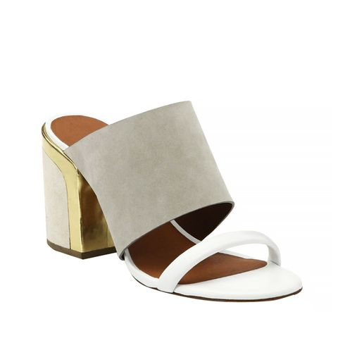 Metallic Leather & Suede Mule Sandals