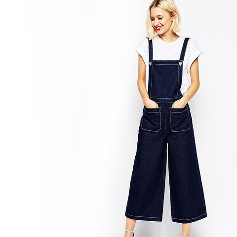 Denim Dungaree with Wide Leg and Contrast Stitching