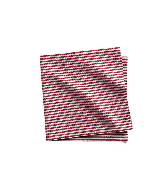 Crate and Barrel Seersucker Red Napkin